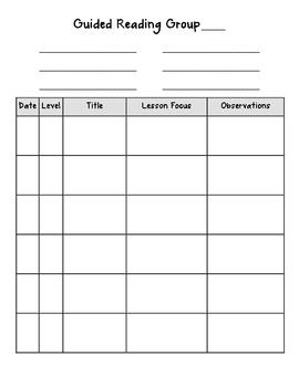 Guided Reading Planner & Notes Page