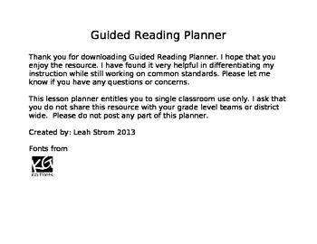 Guided Reading Planner using MAP and CCSS