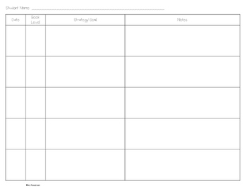 Guided Reading Planning Chart