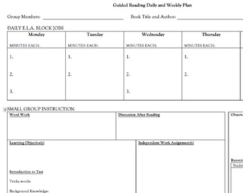 Guided Reading Planning Page (Daily Planning and Week) PDF version!