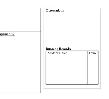 Guided Reading Planning Page - Editable!