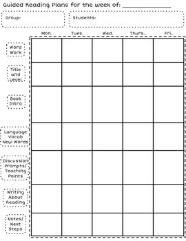 Guided Reading Planning Pages