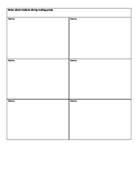 Guided Reading Planning Sheet