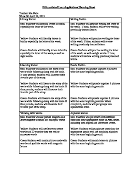 Guided Reading Planning Sheet and Differentiated Stations