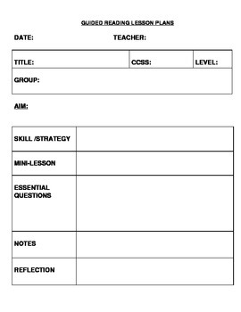 Guided Reading Planning Sheets
