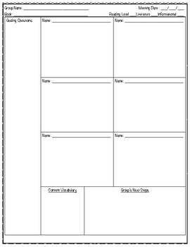 Guided Reading Planning and Note Taking Tool