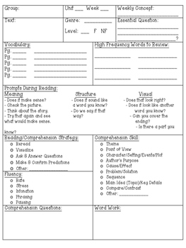 Guided Reading Planning and Recording Forms
