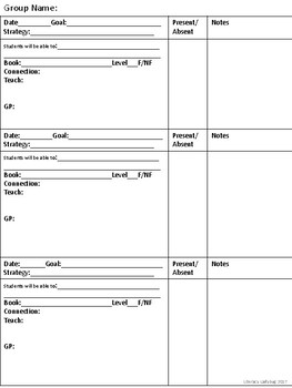 Guided Reading Plans 3 per day