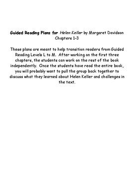 Guided Reading Plans Level M:  Helen Keller by Margaret Davidson