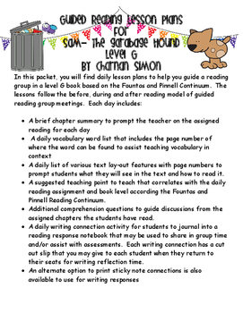 Guided Reading Plans: Sam the Garbage Hound- Level G