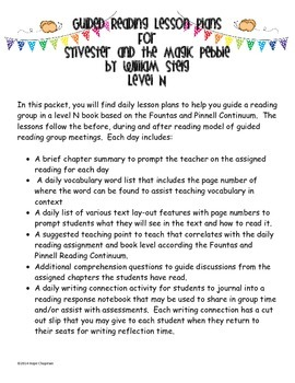 Guided Reading Plans- Sylvester and the Magic Pebble by Wi