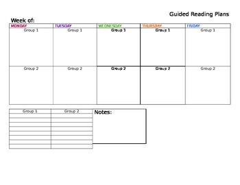 Guided Reading Plans Template