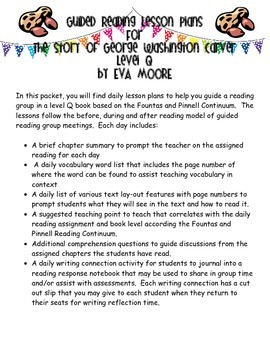 Guided Reading Plans: The Story of George Washington Carver by Eva Moore Level O