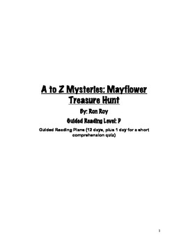 Guided Reading Plans for A to Z Mysteries: Mayflower Treas