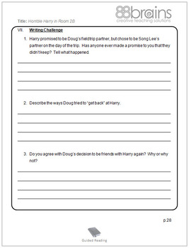 Horrible Harry in Room 2B Guided Reading Plans (Common Core aligned)