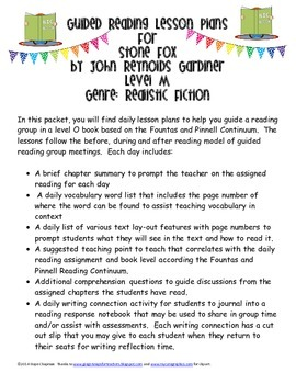 Guided Reading Plans for Stone Fox- Level M