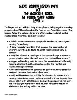 """Guided Reading Plans for """"The Chocolate Touch"""" Level N"""