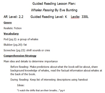 "Guided Reading Plans for ""Whales Passing"" by Eve Bunting"