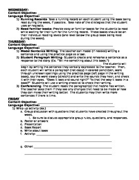 Guided Reading Plus Intervention; four day plan level N+