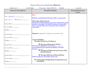 Guided Reading Plus Planner for Mondo Bip biiip Level B