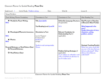 Guided Reading Plus Planner for Mondo Juan Jardin Level H