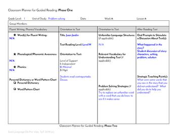 Guided Reading Plus Planner for Mondo Juan Jardin Level H
