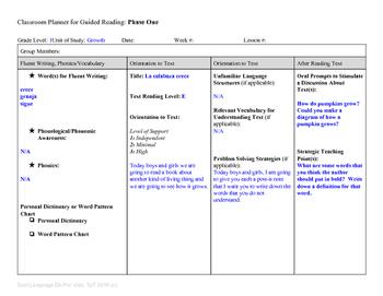 Guided Reading Plus Planner for Mondo La calabaza crece Level E