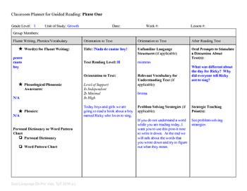 Guided Reading Plus Planner for Mondo Nada de cantar hoy Level H