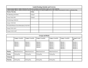 Guided Reading Weekly Overview