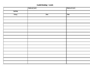 Guided Reading Plus weekly level template group organizer