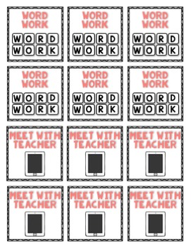 Guided Reading Pocket Chart Rotation Cards