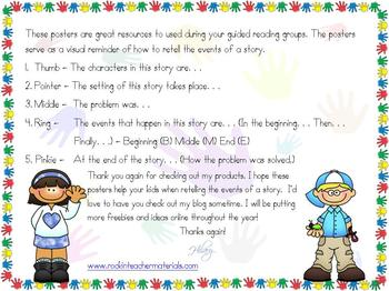 Guided Reading Poster-5 Finger Retell-FREEBIE!