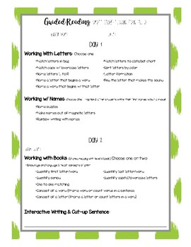 Guided Reading Pre-A Lesson Plan