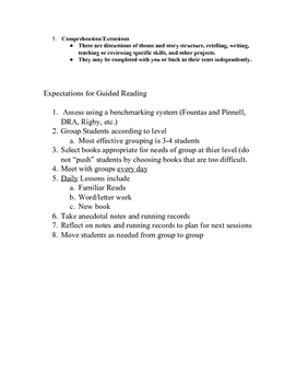 Guided Reading Procedure Cheat Sheet