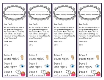 Guided Reading Prompting Bookmarks