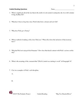 """Guided Reading Questions for """"Big Two Hearted River"""""""