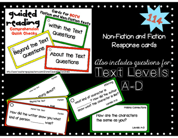 Guided Reading Quick Check for Comprehension-Within,Beyond,About text questions