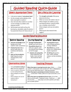 Guided Reading Quick-Guide Spanish/English