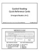 Guided Reading Quick Reference Cards