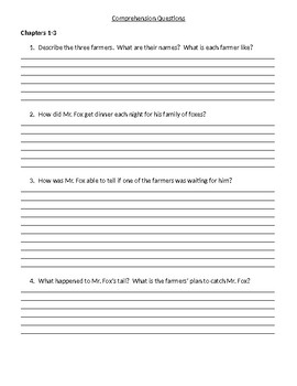 Guided Reading/Read Aloud Plan for Fantastic Mr. Fox by Roald Dahl Level P
