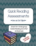 Guided Reading - Quick Assessments or use as Exit Slips