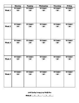 Guided Reading & Reading Running Record Data & Planning