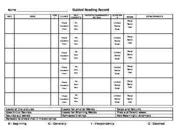Guided Reading Record