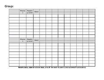 Guided Reading Record Sheet