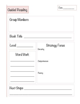 Guided Reading Recording Page