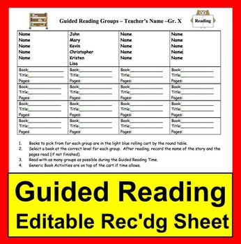 Guided Reading Recording Sheet - Ready to Edit