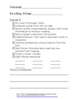 Guided Reading Recording Sheets- Levels A through N!