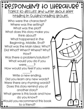 Guided Reading: Responding to Literature Freebie