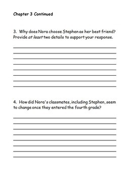 Guided Reading Response Questions for The Report Card by Andrew Clements