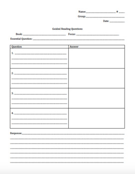 Guided Reading Response Worksheet with Essential Question
